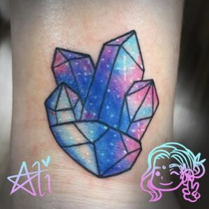 Ali Morgainne | Blue and pink crystals | Sentient Tattoo Collective in Tempe, AZ