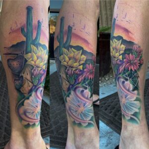 Ryan Campbell | Arizona desert at sunset tattoo | Guest artist at Sentient Tattoo Collective